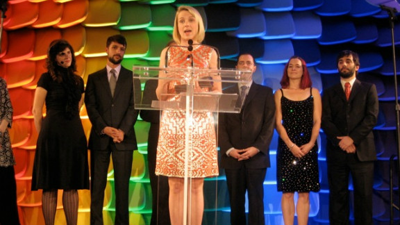 """Mayer accepted the National Design Award on behalf of Google in October 2008. But public speaking and social events haven't always been easy, says Mayer: """"I'm a really shy person. ... Yet at Google, my colleagues would never believe that; because here, I'm outspoken because I feel comfortable and I feel like I can express my opinions and find my voice."""""""