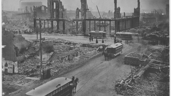 This is a view of the corner of State and Madison streets after the Great Chicago Fire in 1871.