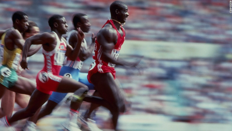 Ben Johnson streaks away from the field in the 100 meters final at the Seoul Olympics in 1988. The race, his victory and his subsequent disqualification for taking the banned steroid stanozolol was one of the most  infamous episodes in Olympic history.