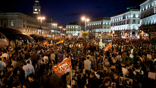 Demonstrators crowd Cibeles Square during a general strike last week in Madrid, Spain.