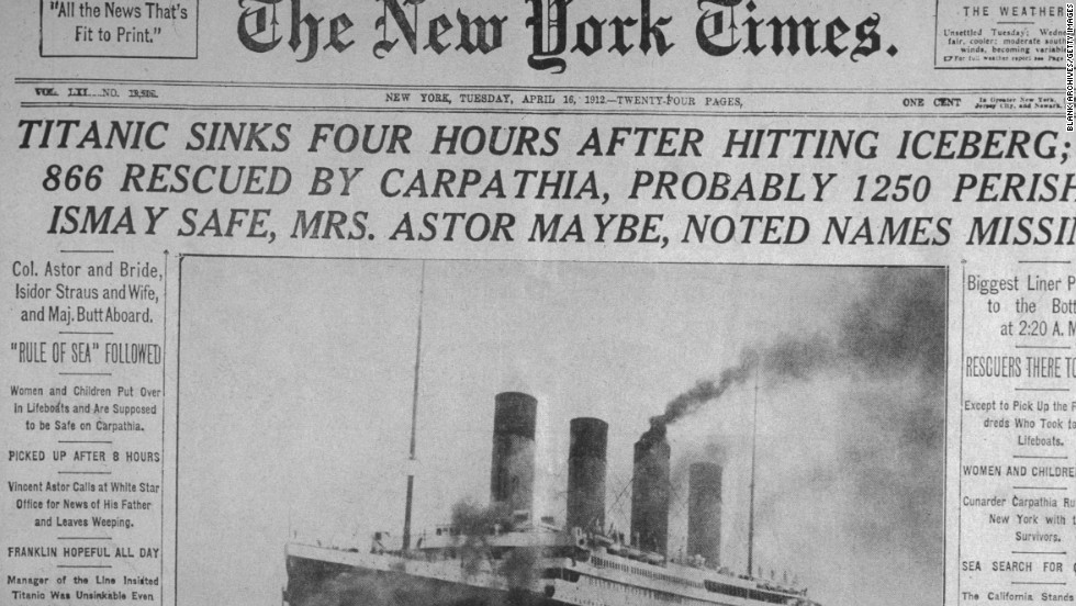 The April 16,1912 front page of The New York Times announces the sinking of the Titanic.