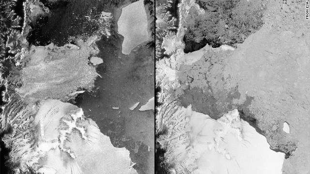 Satellite images from 2002, left, and 2012 reveal the disintegration of the Antarctic ice shelf.