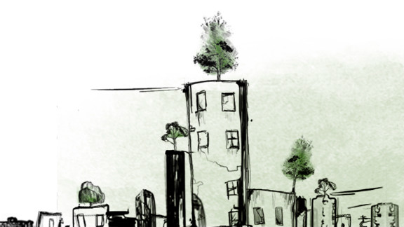 """This artist's impression of the """"Wonder Forest"""" shows individual trees planted in pots, sitting on the rooftops in Beirut. Melki says that even with just one tree per rooftop, there would be as many trees as in New York's Central Park."""