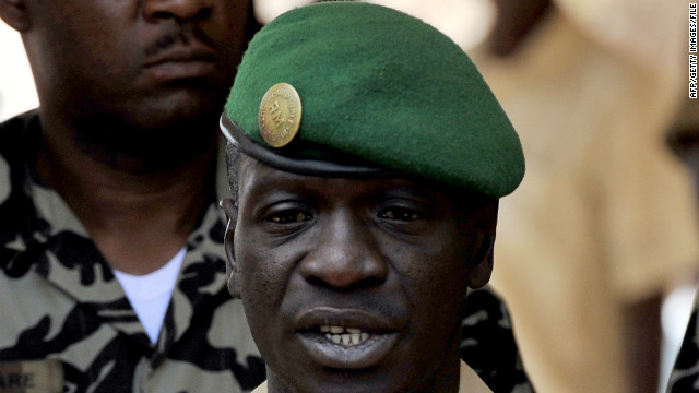 Malian junta leader, Captain Amadou Sanogo, makes a declaration at the Kati military camp near Bamako on Sunday.