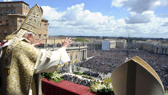 "Pope Benedict XVI delivers his ""Urbi et Orbi"" message and blessing from the central balcony of St. Peter"