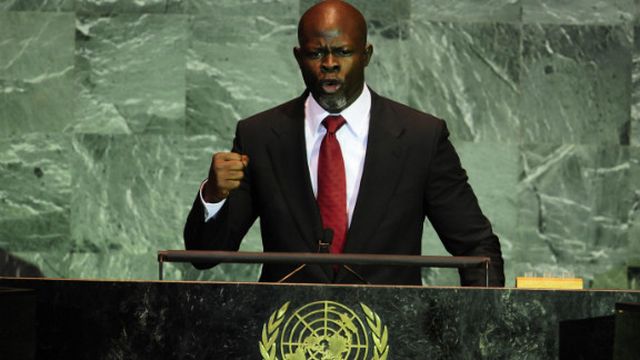 Hounsou, who is a well-known activist, addresses the United Nations