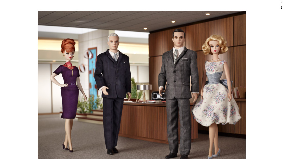 "Clad in their ""Mad Men"" '60s-finest, Joan Holloway, Roger Sterling and Don and Betty Draper joined the Mattel family in 2010"