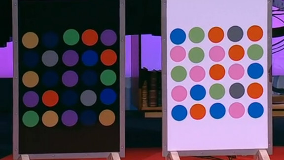Can you guess which colored dots are the same on both panels? For the answer, watch the TED talk video linked below.