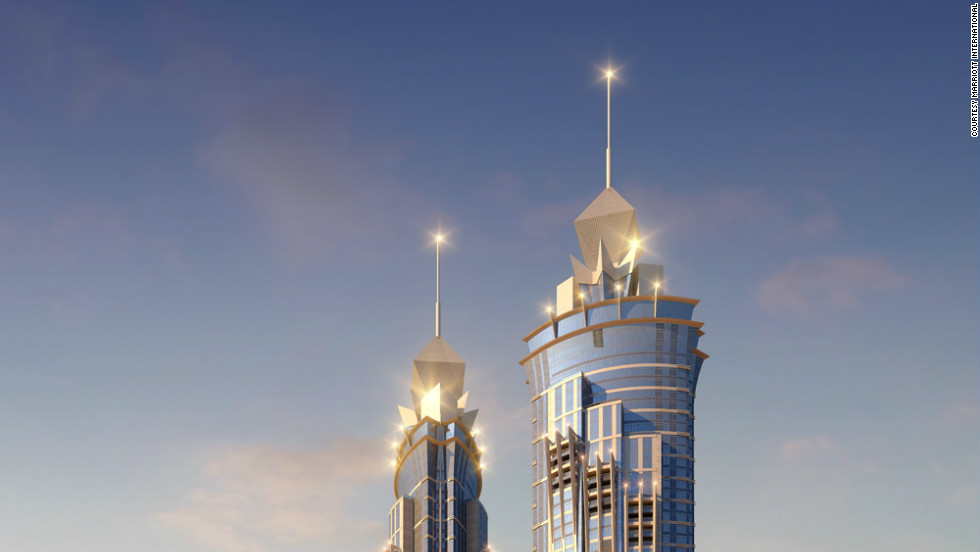 An illustration of the JW Marriott Marquis Dubai, due to open in 2012. <br /><br />When completed, it will have 1,608-rooms and will be 355 meters tall, making it the tallest dedicated hotel building in the world.