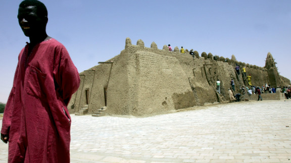 Outside the Djinguereber mosque, one of the three schools which comprised the medieval Islamic university of Timbuktu.