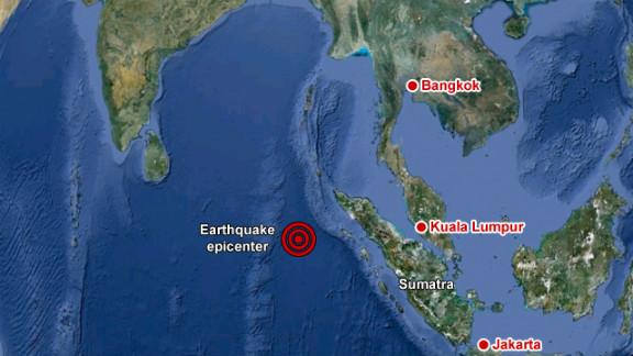 Epicenter of earthquake off the coast of northern Sumatra