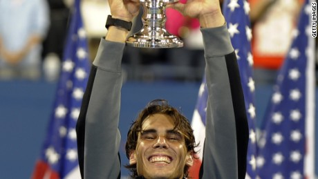 Rafael Nadal lifting the 2010 US Open trophy.