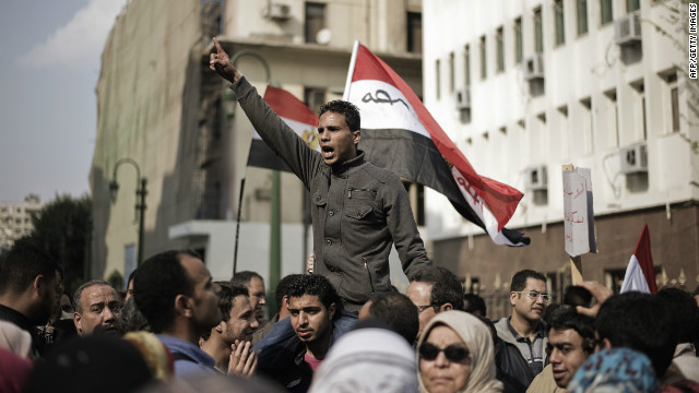 A protest outside the Egyptian parliament building against the Constitution Drafting Committee, on March 28, 2012.