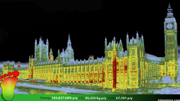 Thermal imaging company IRT have been providing thermal surveys in the UK for the past decade. CEO Stewart Little says the cost of thermal cameras has dropped dramatically in recent years. Here an IRT survey shows the energy footprint of the UK's Houses of Parliament in London.