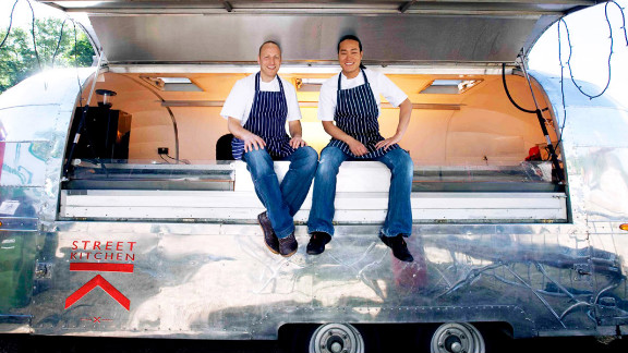 Many businesses insist on using locally-sourced fare (some from in-house farms). Street Kitchen founders Mark Jankel, left, and Jun Tanaka, are adamant about sourcing 100% of their food from British suppliers.