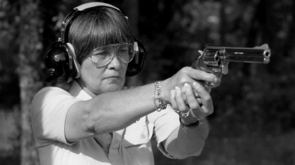 Marion Hammer takes aim at a firing range in 1995. She was the first female president of the National Rifle Association.