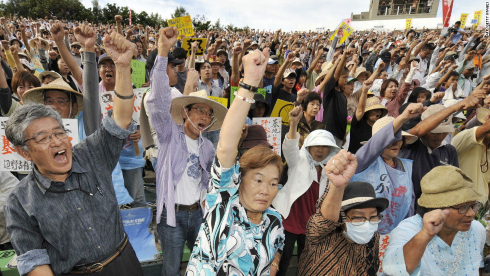 The U.S. and Japan are close allies, but many Japanese resent -- and here in 2009, protested -- the heavy U.S. military presence in Okinawa.
