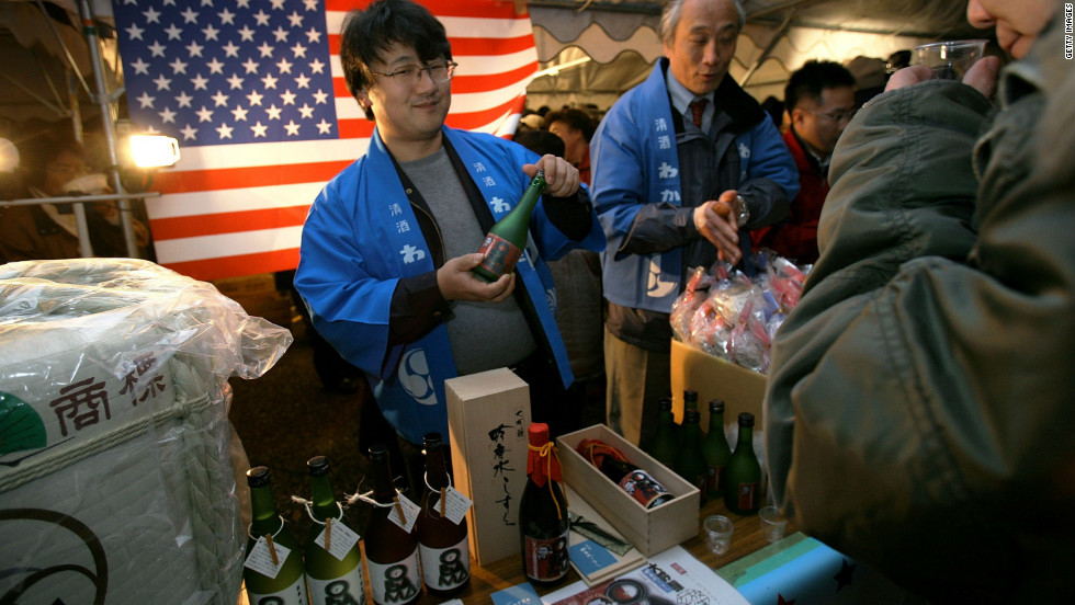 Obamans washed down that tasty canned bread with commemorative Barack Obama sake.