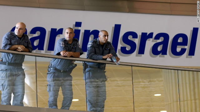 (file photo) Israeli police and border guard officers at Ben Gurion airport on July 7, 2011, before the arrival of pro-Palestinian activists.