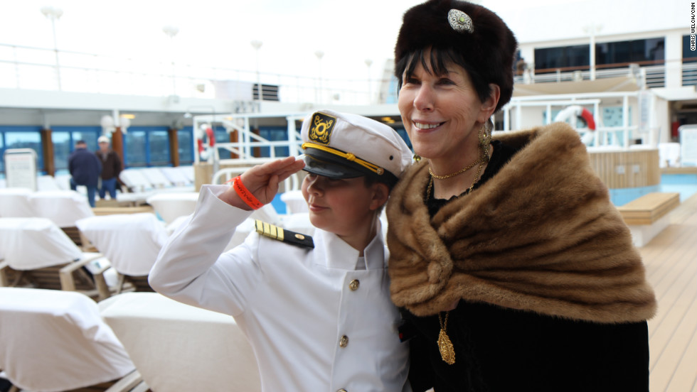 Patrick Druckenmiller, 9, received the trip aboard the Titanic anniversary cruise as a gift from his grandmother, Stephanie Hayes, right. Patrick is dressed as Titanic Capt. Edward John Smith. The cruise aboard the Azamara Journey departed from New York on Tuesday.