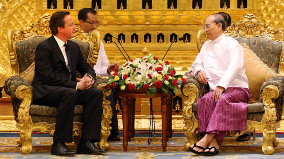 British Prime Minister David Cameron meets with Thein Sein, the president of Myanmar, on Friday.