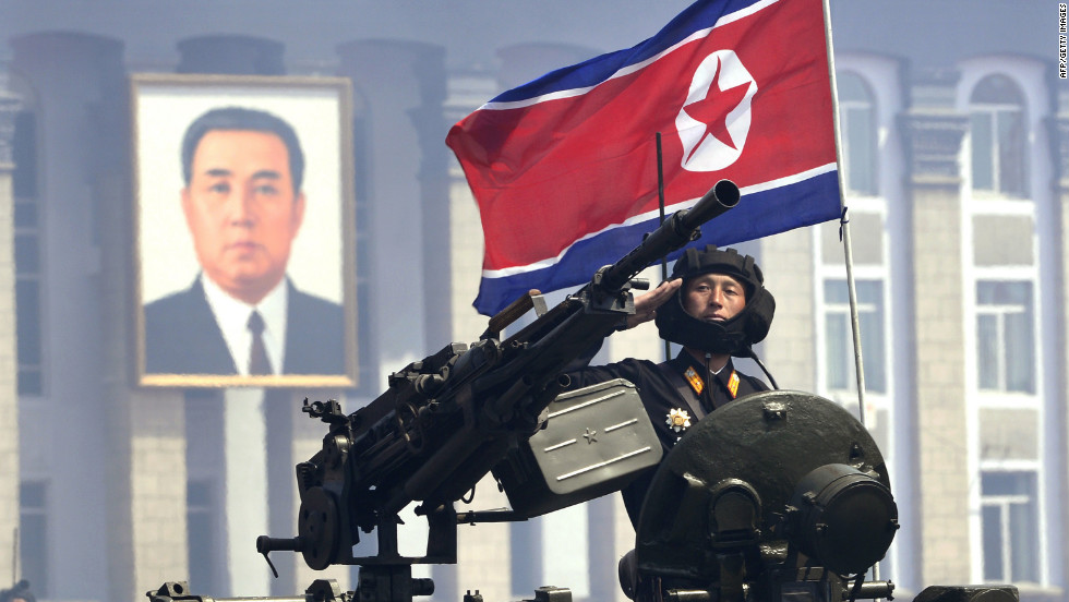 A North Korean soldier salutes during the parade in Pyongyang on  Sunday.