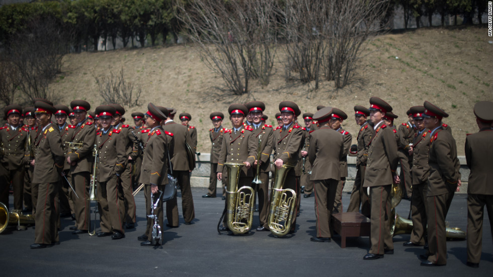 Members of a North Korean military band gather following an official ceremony at the Kim Il-Sung stadium in Pyongyang on Saturday, April 14.