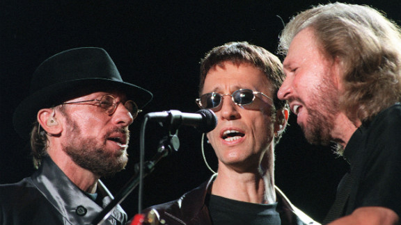 """The Bee Gees perform during the """"One Night Only"""" concert at Stadium Australia in Sydney, Australia, in March, 1999."""
