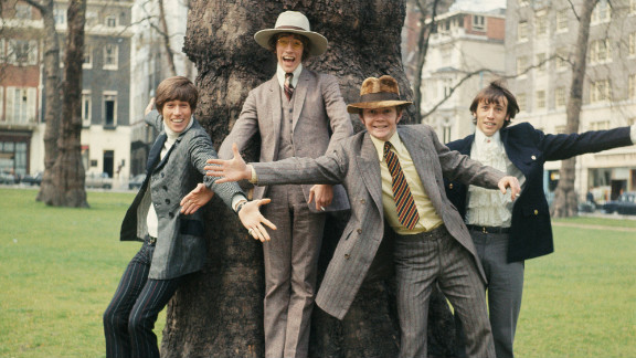 The Bee Gees pose in London in 1967. From left to right, Barry Gibb, Robin Gibb, drummer Colin Peterson and Maurice Gibb.