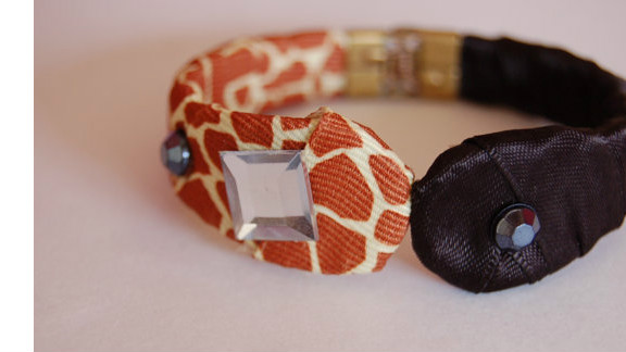 """Jaclyn Murphy created this bracelet with a vintage brass cuff, then styled it with animal-print fabric and ribbons. """"I think using a splash of animal print is always a good thing,"""" she said. Murphy creates a variety of fashion accessories for her Esty store, luniacstyle."""