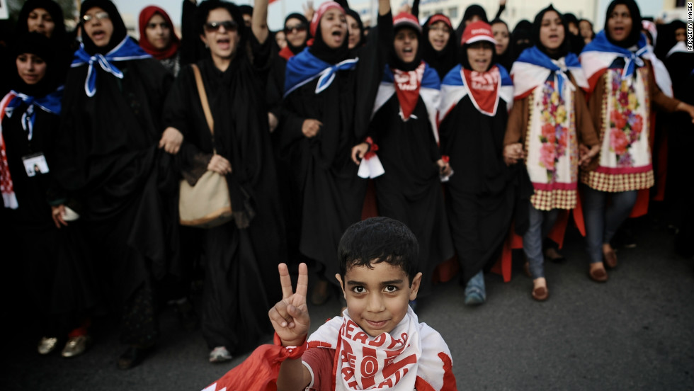 Hundreds of supporters of Bahrain's main Shiite opposition group Al-Wefaq demonstrated against the government on April 15, 2012.