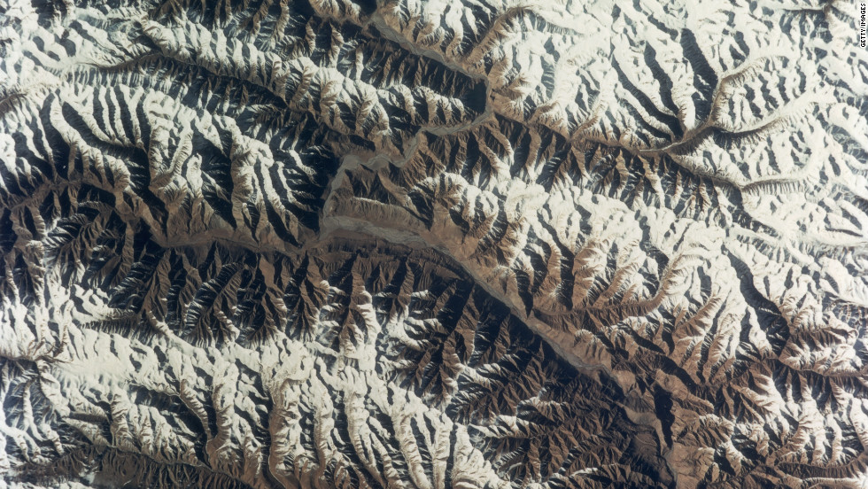 The Karakoram mountains in the western Himalayas as seen from a NASA satellite. New research published in the journal Nature Geoscience is showing that some of the glaciers in the region have experienced small gains in mass in the 21st century.