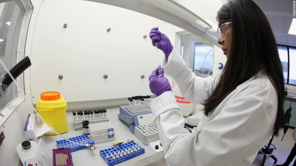 Analyst Jignasha Patel prepares a sample for testing in the anti-doping laboratory which will test athletes' samples from the London 2012 Games on January 19, 2012.