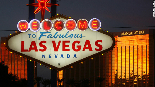 A view of the welcome sign on Las Vegas Boulevard, known as 'The Strip'.