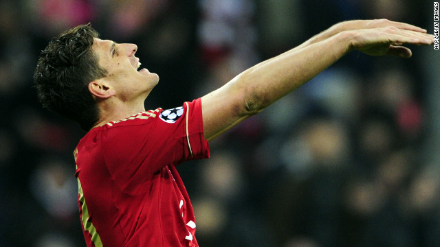 Mario Gomez celebrates his winning goal for Bayern Munich in their semifinal first leg match against Real Madrid.