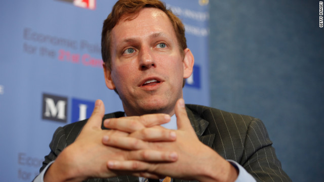 WASHINGTON, DC - OCTOBER 03: PayPal co-founder and former CEO Peter Thiel speaks about his National Review article, 'The End of the Future,' during a discussion sponsored by e21, a conservative think tank, and the Manhattan Institute at the National Press Club October 3, 2011 in Washington, DC.