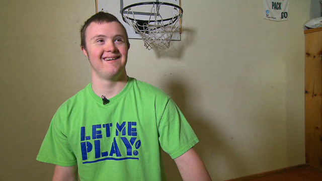 Eric Dompierre, 19, plays on his high school basketball and football teams