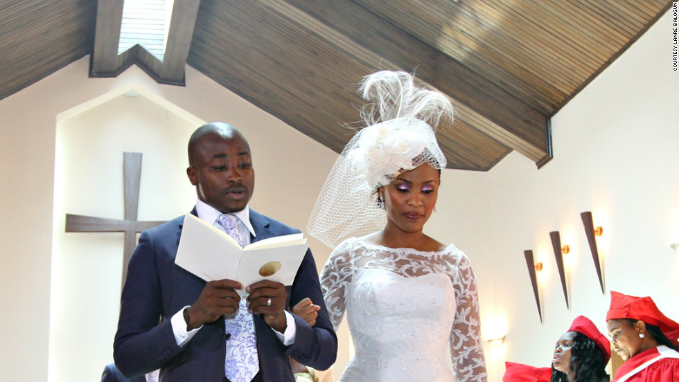 A couple during their church ceremony.