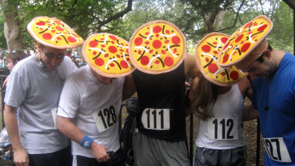 """Following in Krispy Kreme's heavy footsteps, the <a href=""""http://nycpizzarun.com/"""" target=""""_blank"""" target=""""_blank"""">New York City Pizza Run</a> held its first event in 2010. Runners complete a 2.25-mile run, inhaling three slices of pizza along the way. A portion of the race's proceeds benefit the <a href=""""http://www.jdrf.org/"""" target=""""_blank"""" target=""""_blank"""">Juvenile Diabetes Research Foundation</a>."""