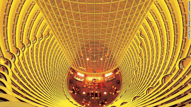 The 555-room Grand Hyatt Shanghai hotel also hosts the world's second largest atrium.