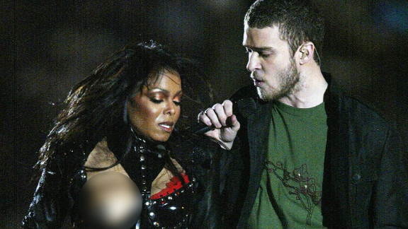 """Janet Jackson experiences a """"wardrobe malfunction"""" while performing with Justin Timberlake during the Super Bowl halftime show, Feburary 1, 2004."""