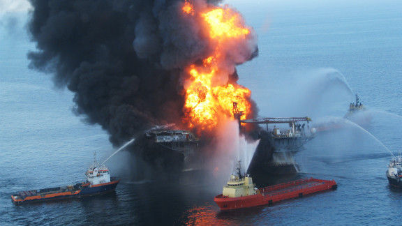 The Deepwater Horizon oil rig burns out of control before sinking into the Gulf of Mexico in April 2010.