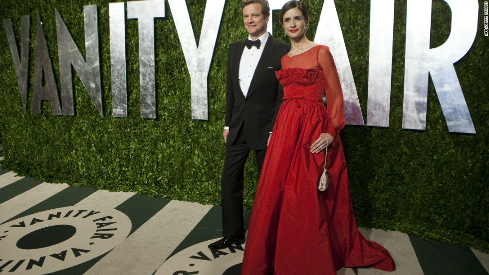 Firth and husband Colin attend this year's Vanity Fair Oscars party. Her gown is made from silk and fabric made from recycled plastic bottles.