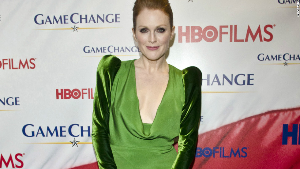 Four-time Oscar nominee, Julianne Moore wears a Tom Ford creation made with recycled velvet.