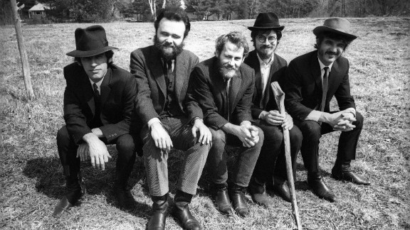 """Left to right: Richard Manuel, Garth Hudson, Levon Helm, Robbie Robertson and Rick Danko pose during a """"Music From Big Pink"""" session."""