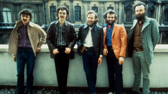 Rick Danko, Robbie Robertson, Levon Helm, Richard Manuel and Garth Hudson of The Band pose for a group portrait in London in 1971.