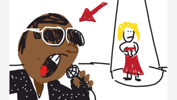 This rapper often makes headlines with his off-the-wall comments. He appears here in one of his more infamous moments in a drawing by Joe Toledo.