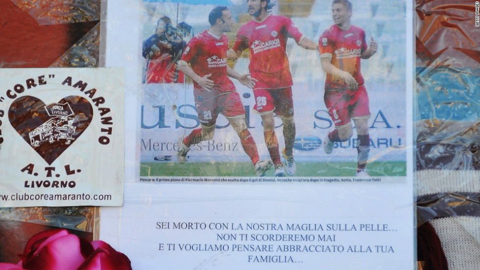 Armando Picchi Stadium has become a site of mourning, with fans leaving hundreds of personal tributes to Morosini since his tragic death on April 14.