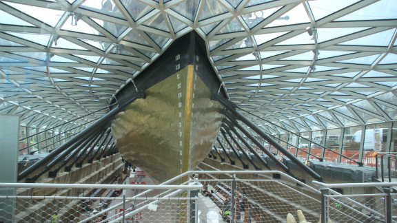 Vistors will now be able to walk underneath the ship after the restoration project raised it 11 feet in the air.