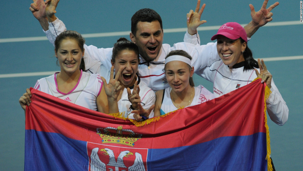 Serbia will make history when they compete in a Fed Cup final four tie for the first time. Here the team (L-R) Bojana Jovanovski, Natalija Kostic, captain Dejan Vranes, Aleksandra Krunic and Jelena Jankovic celebrate after winning the Fed Cup tie against Belgium in Charleroi in February.